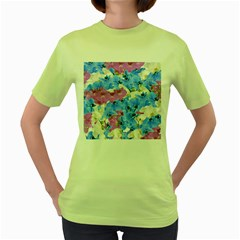 Tulips Floral Pattern Women s Green T Shirt