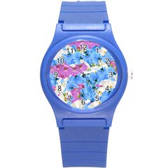 Tulips Floral Pattern Round Plastic Sport Watch (S)