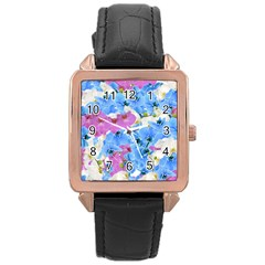 Tulips Floral Pattern Rose Gold Leather Watch