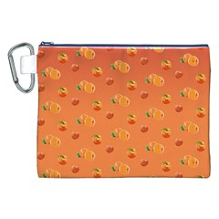 Peach Fruit Pattern Canvas Cosmetic Bag (xxl)
