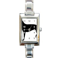 Greyhound Silhouette Rectangle Italian Charm Watch