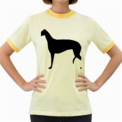 Greyhound Silhouette Women s Fitted Ringer T-Shirts