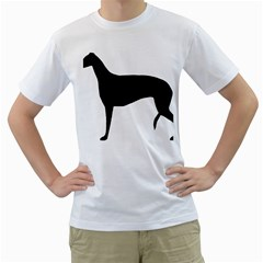 Greyhound Silhouette Men s T-Shirt (White) (Two Sided)