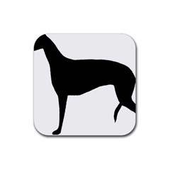 Greyhound Silhouette Rubber Coaster (Square)