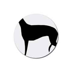 Greyhound Silhouette Rubber Coaster (Round)
