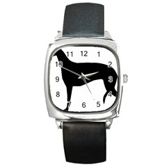 Greyhound Silhouette Square Metal Watch