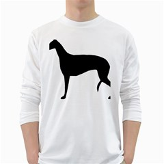 Greyhound Silhouette White Long Sleeve T-Shirts