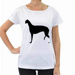 Greyhound Silhouette Women s Loose-Fit T-Shirt (White)