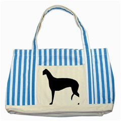 Greyhound Silhouette Striped Blue Tote Bag