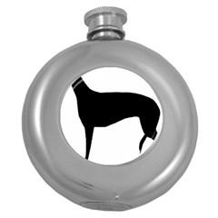 Greyhound Silhouette Round Hip Flask (5 oz)