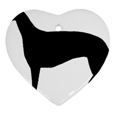 Greyhound Silhouette Heart Ornament (Two Sides)