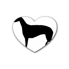 Greyhound Silhouette Rubber Coaster (Heart)