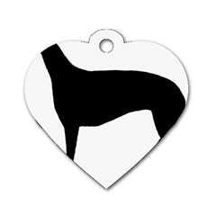 Greyhound Silhouette Dog Tag Heart (One Side)