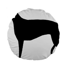 Greyhound Silhouette Standard 15  Premium Round Cushions
