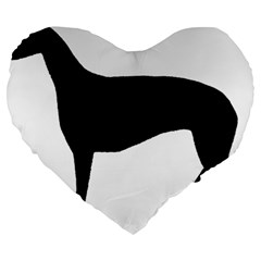 Greyhound Silhouette Large 19  Premium Heart Shape Cushions