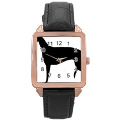 Greyhound Silhouette Rose Gold Leather Watch