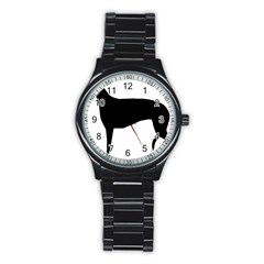 Greyhound Silhouette Stainless Steel Round Watch