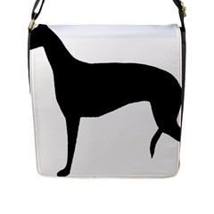 Greyhound Silhouette Flap Messenger Bag (L)