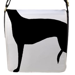 Greyhound Silhouette Flap Messenger Bag (S)