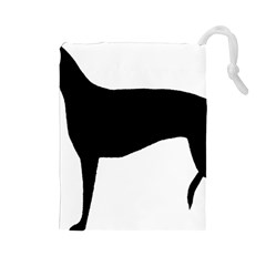 Greyhound Silhouette Drawstring Pouches (Large)