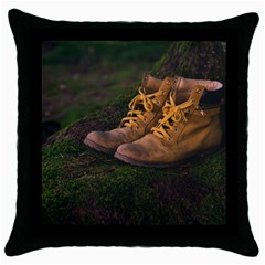 Hiking Boots Throw Pillow Case (black)
