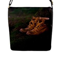 Hiking Boots Flap Messenger Bag (L)