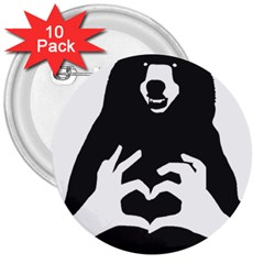 Love Bear Silhouette 3  Buttons (10 pack)