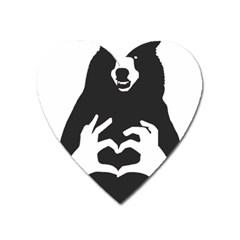 Love Bear Silhouette Heart Magnet