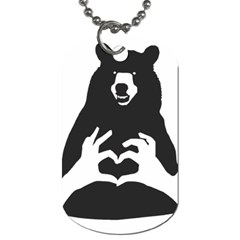 Love Bear Silhouette Dog Tag (One Side)