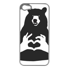 Love Bear Silhouette Apple iPhone 5 Case (Silver)