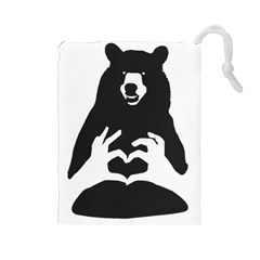 Love Bear Silhouette Drawstring Pouches (Large)