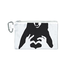 Love Bear Silhouette Canvas Cosmetic Bag (S)
