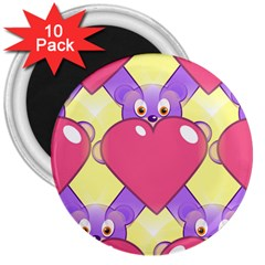 Cartoon Bear Bg 3  Magnets (10 pack)