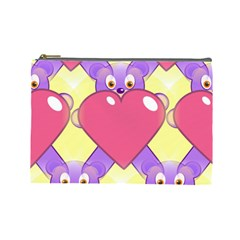 Cartoon Bear Bg Cosmetic Bag (Large)