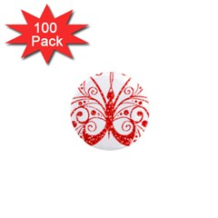 Ruby Butterfly 1  Mini Magnets (100 pack)