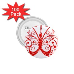 Ruby Butterfly 1.75  Buttons (100 pack)
