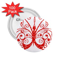 Ruby Butterfly 2.25  Buttons (100 pack)