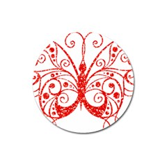 Ruby Butterfly Magnet 3  (Round)