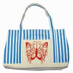 Ruby Butterfly Striped Blue Tote Bag