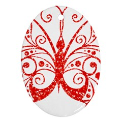 Ruby Butterfly Oval Ornament (Two Sides)