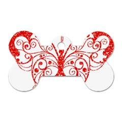 Ruby Butterfly Dog Tag Bone (Two Sides)