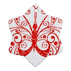 Ruby Butterfly Snowflake Ornament (Two Sides)