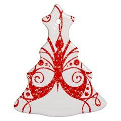 Ruby Butterfly Christmas Tree Ornament (Two Sides)