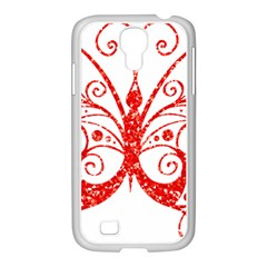 Ruby Butterfly Samsung GALAXY S4 I9500/ I9505 Case (White)