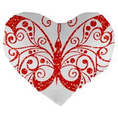 Ruby Butterfly Large 19  Premium Flano Heart Shape Cushions