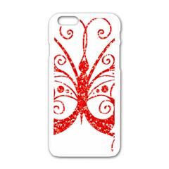 Ruby Butterfly Apple iPhone 6/6S White Enamel Case