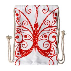 Ruby Butterfly Drawstring Bag (Large)
