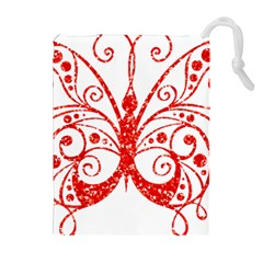 Ruby Butterfly Drawstring Pouches (Extra Large)