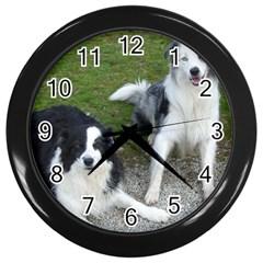 2 Border Collies Wall Clocks (Black)