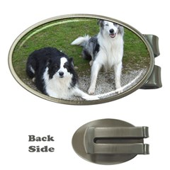 2 Border Collies Money Clips (Oval)